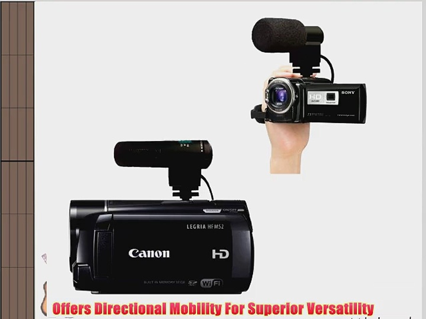 Shotgun for Canon EOS Rebel SL3 Stereo Microphone with Windscreen