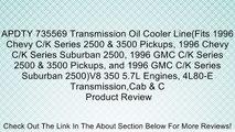 APDTY 735569 Transmission Oil Cooler Line(Fits 1996 Chevy C/K Series 2500 & 3500 Pickups, 1996 Chevy C/K Series Suburban 2500, 1996 GMC C/K Series 2500 & 3500 Pickups, and 1996 GMC C/K Series Suburban 2500)V8 350 5.7L Engines, 4L80-E Transmission,Cab & C