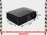 EUG 3400 Lumens 1080p 3D Full HD Home Office Theater Projector 1280x800 Resolution HDMI USB