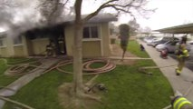 Children rescued from Fresno apartment fire - Footage from Helmet camera