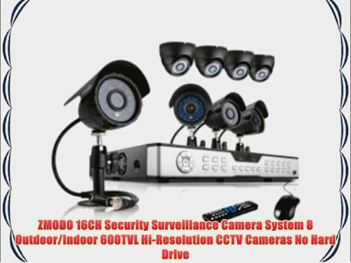 ZMODO 16CH Security Surveillance Camera System 8 Outdoor/Indoor 600TVL Hi-Resolution CCTV Cameras
