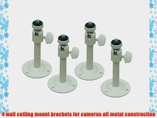 VideoSecu 4 Wall Ceiling Mounts for Security Video Cameras 2-6 inch Adjustable Pan Tilt Camera