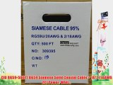 CIB RG59-500FT RG59 Siamese Solid Coaxial Cable   18/2 (18AWG 2C) Power Whit...