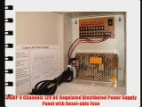 9 Channels 12V DC Regulated Distributed Power Supply panel individually fused 5 AMP Total Output