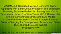 MAXMADE� Upgraded Version Car Jump Starter Upgraded with Safer Circuit Protection and Enhanced Moulding Structure Perfect for Starting Your Car in Emergency Up to 15 Ignition Times at Full Charge Ulra-bright Flashlight with Strobe and SOS Modes 11000mAh P