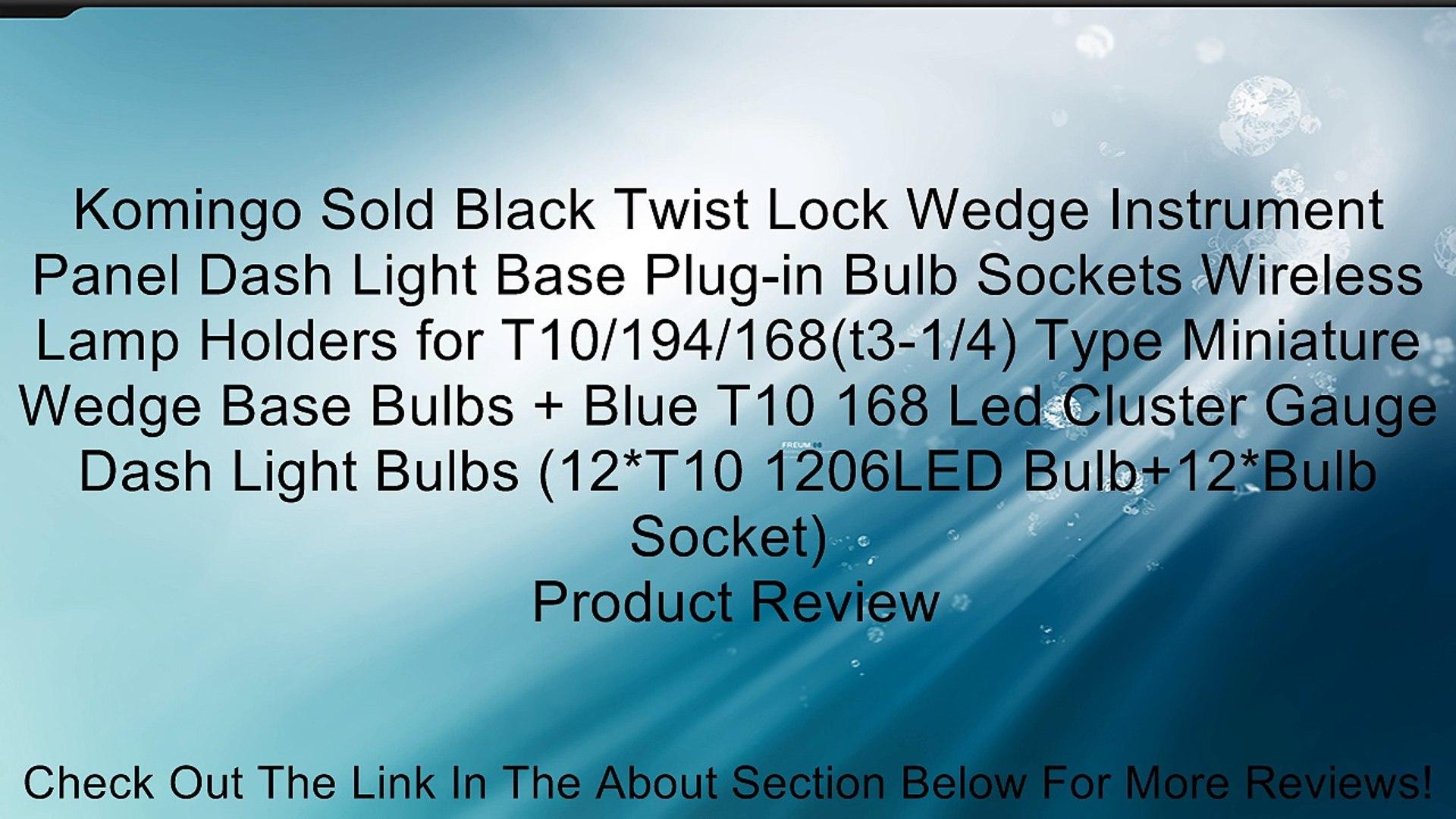 Komingo Sold Black Twist Lock Wedge Instrument Panel Dash Light Base Plug-in Bulb Sockets Wireless L