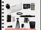 Sony HDR-AS100V HDR-AS100V/W POV Action Cam with Sony 32GB Micro SD Card   Focus Case   Replacement