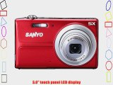 Sanyo 14MP Digital Camera w/ 5x Optical Zoom 3 LCD Display - RED Color