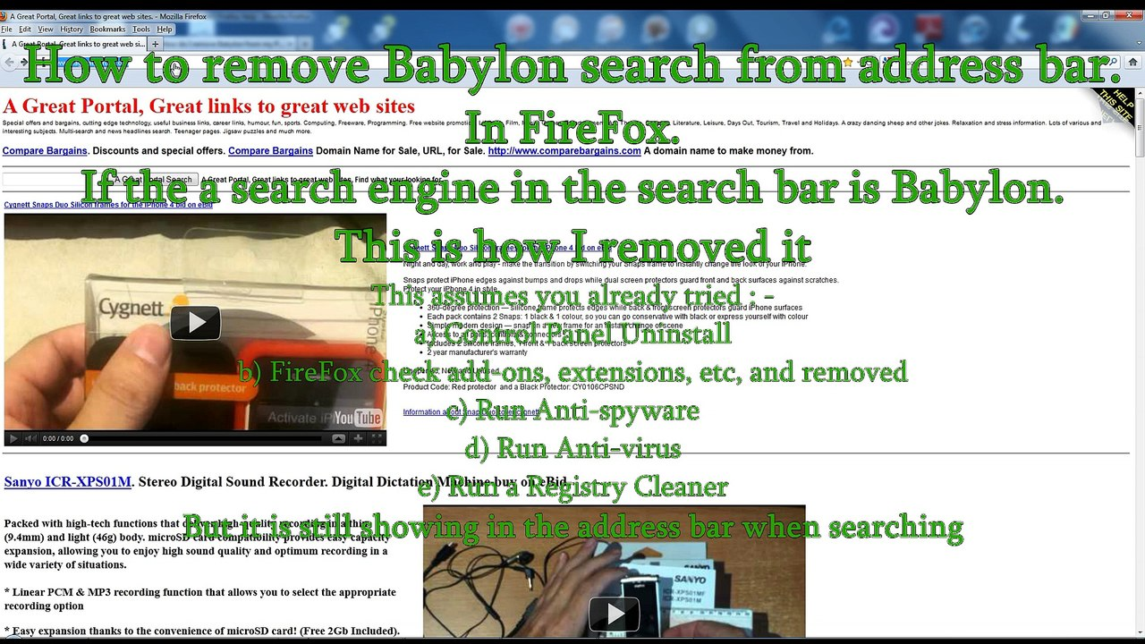 How to remove Babylon search from address bar