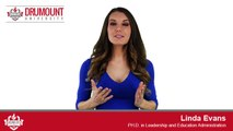 Listen to Linda Evans, a PhD Student at Drumount University