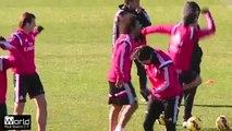 Cristiano  Ronaldo Gets Crazy in Real Madrid C.F with Fábio Coentrão in Training 2015