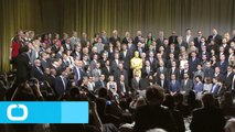 Neil Patrick Harris Sits Spread Eagle and Takes Up Some Serious Space in 2015 Oscar Luncheon Class Photo