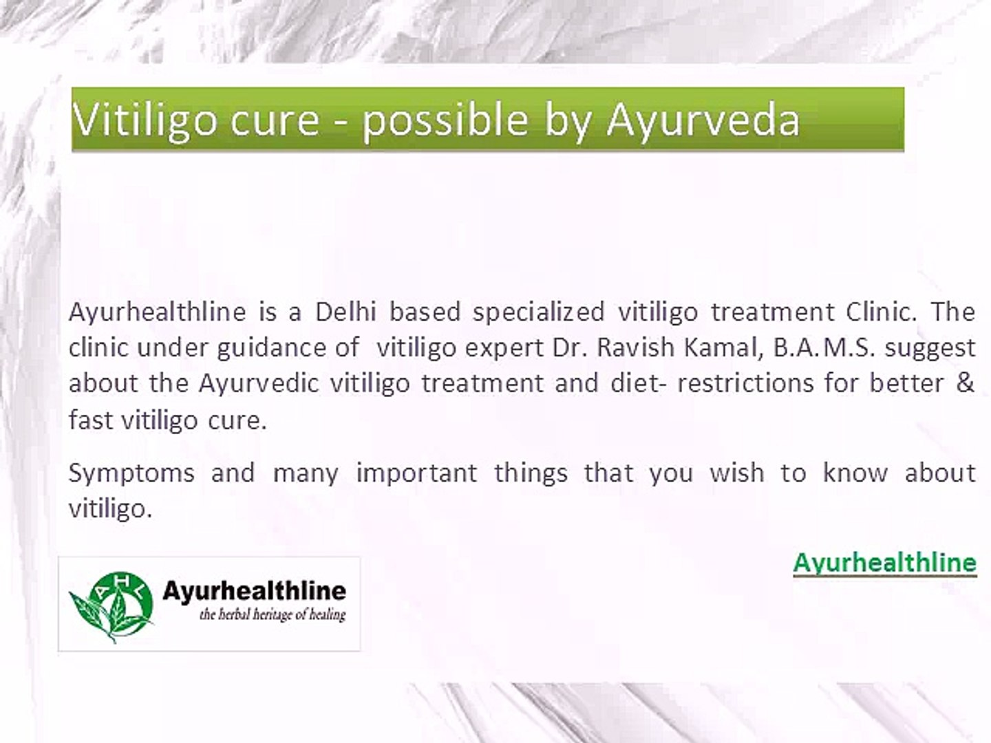 Ayurvedic Vitiligo Cure specialist - Ayurhealthline - video dailymotion
