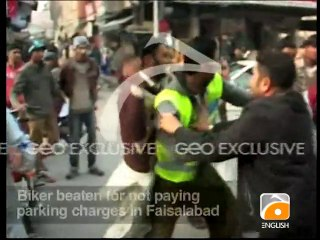 Biker beaten for not paying parking charges in Faisalabad