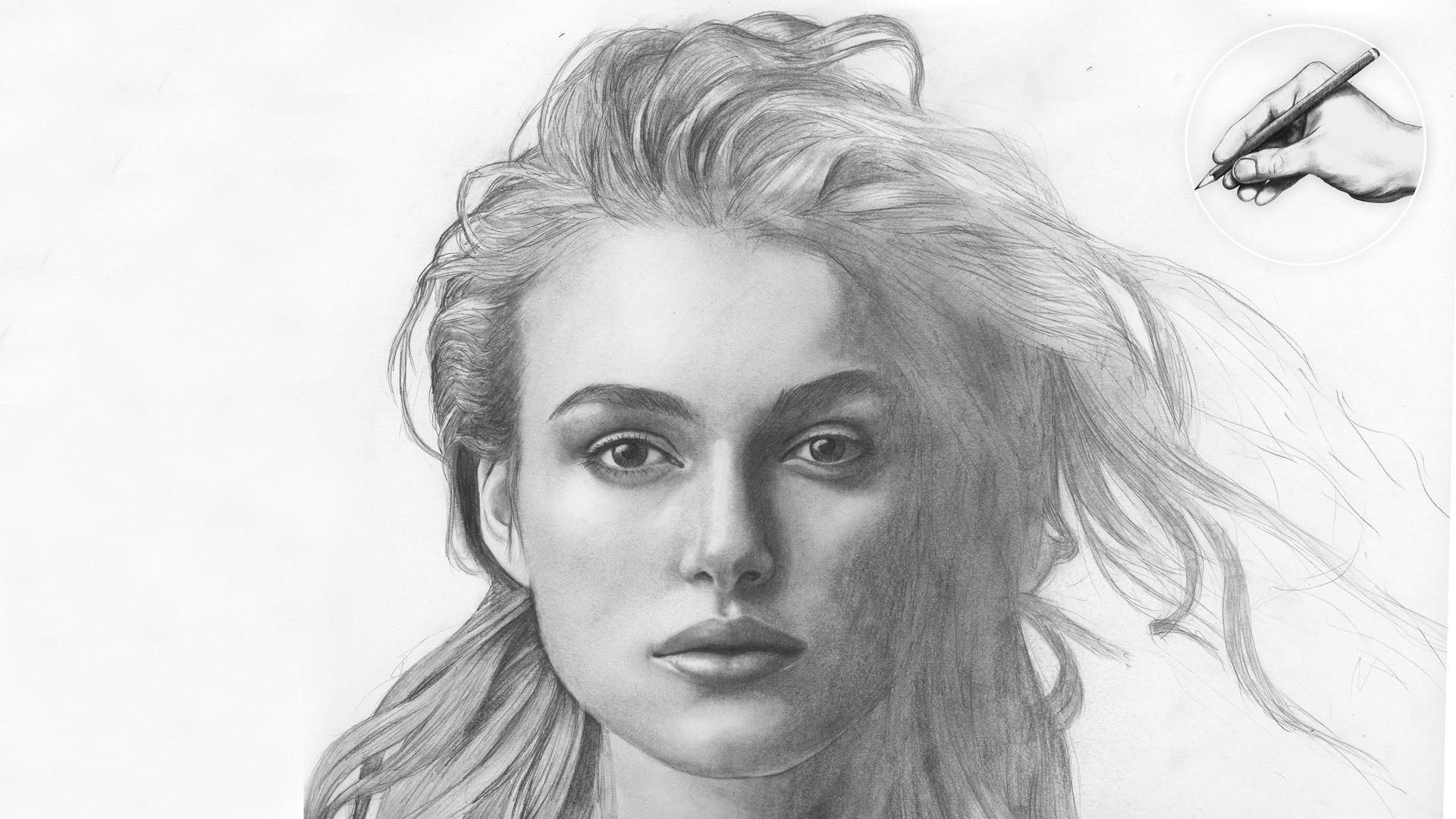 Keira Knightly Portrait Zeichnung Zeichenkurs Lerne Zeichnen Zeichnen Lernen Malen Bleistift Elizabeth Swann