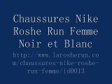chaussures nike roshe run id femme (noir/blanc/blanc logo)