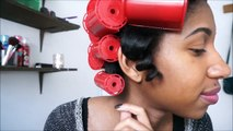 "Valentines Day Heatless Curls ""Steam Rollers"" on Natural Hair"