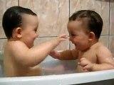 Twins Baby Enjoying during Bath - Watch and Enjoy