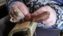 Tuto sellerie harnachement cuir : La couture main au point sellier, fil de lin ciré, 2 aiguilles