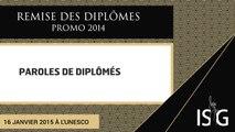 Paroles de diplômés - Remise des diplômes de la promo 2014