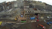 Charleroi: le chantier de démolition des colonnades