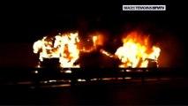Oise: l'A1 coupée après un accident mortel entre 3 camions et un car