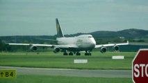 Lufthansa Boeing 747-400 D-ABVR décollage départ de l'aéroport international de Dublin en Irlande