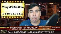 Michigan Wolverines vs. Michigan St Spartans Free Pick Prediction NCAA College Basketball Odds Preview 2-17-2015
