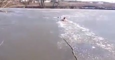Guy Breaks Through Frozen River To Save His Dog