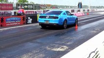 Mustang Race. American Muscle Cars Drag Racing!. Engine Revs Heating up tires