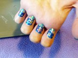 Nail Art: Blue tip with flowers and polka dots