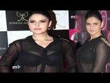 Hot Blunder Zarine Khan Huge Bosoms In Black Bra Visible