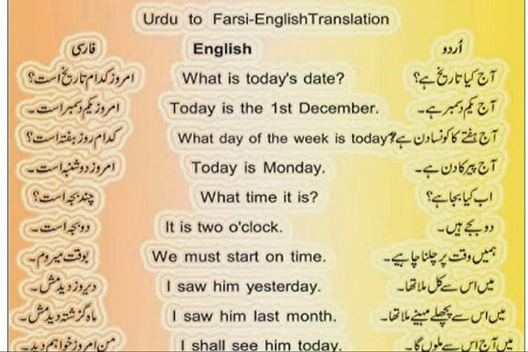 English Translation In Urdu