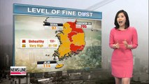 Fine dust levels remain high, with big temperature gaps from day to night