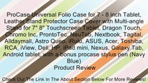 "ProCase Universal Folio Case for 7 - 8 inch Tablet, Leather Stand Protector Case Cover with Multi-angle Stand for 7"" 8"" Touchscreen Tablet, Dragon Touch, Chromo Inc, ProntoTec, NeuTab, Nextbook, Tagital, Alldaymall, Astro Queo, iRulu, ASUS, Acer, Toshiba,"