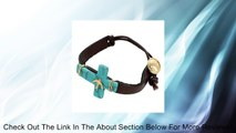 "Leather Bracelet with Embellished Turquoise Cross - Bird. Worn Gold Plating. Brown Leather Bracelet. Turquoise Cross. Wire-wrap Accents. Cross Embellishment - Bird. Approx. Length: 7.5"". Button-loop Closure. Brown Leather Bracelet with Turquoise Cross, Bi"