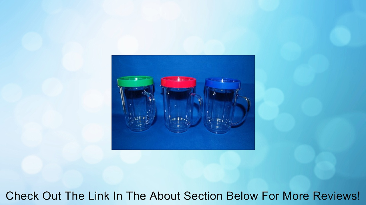 3X Set Lot of Magic Bullet Party Mugs Cups w Colored Lip Ring GENUINE ORIGINAL Review