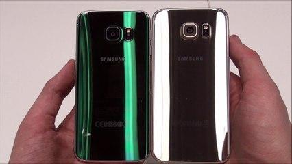 Samsung Galaxy S6 Edge (Emerald Green) vs Samsung Galaxy S6 (Aluminium Gold)