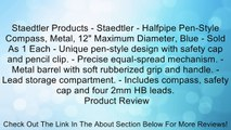 """Staedtler Products - Staedtler - Halfpipe Pen-Style Compass, Metal, 12"""" Maximum Diameter, Blue - Sold As 1 Each - Unique pen-style design with safety cap and pencil clip. - Precise equal-spread mechanism. - Metal barrel with soft rubberized grip and handl"""