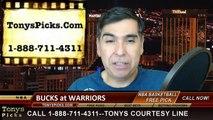 Golden St Warriors vs. Milwaukee Bucks Free Pick Prediction NBA Pro Basketball Odds Preview 3-4-2015