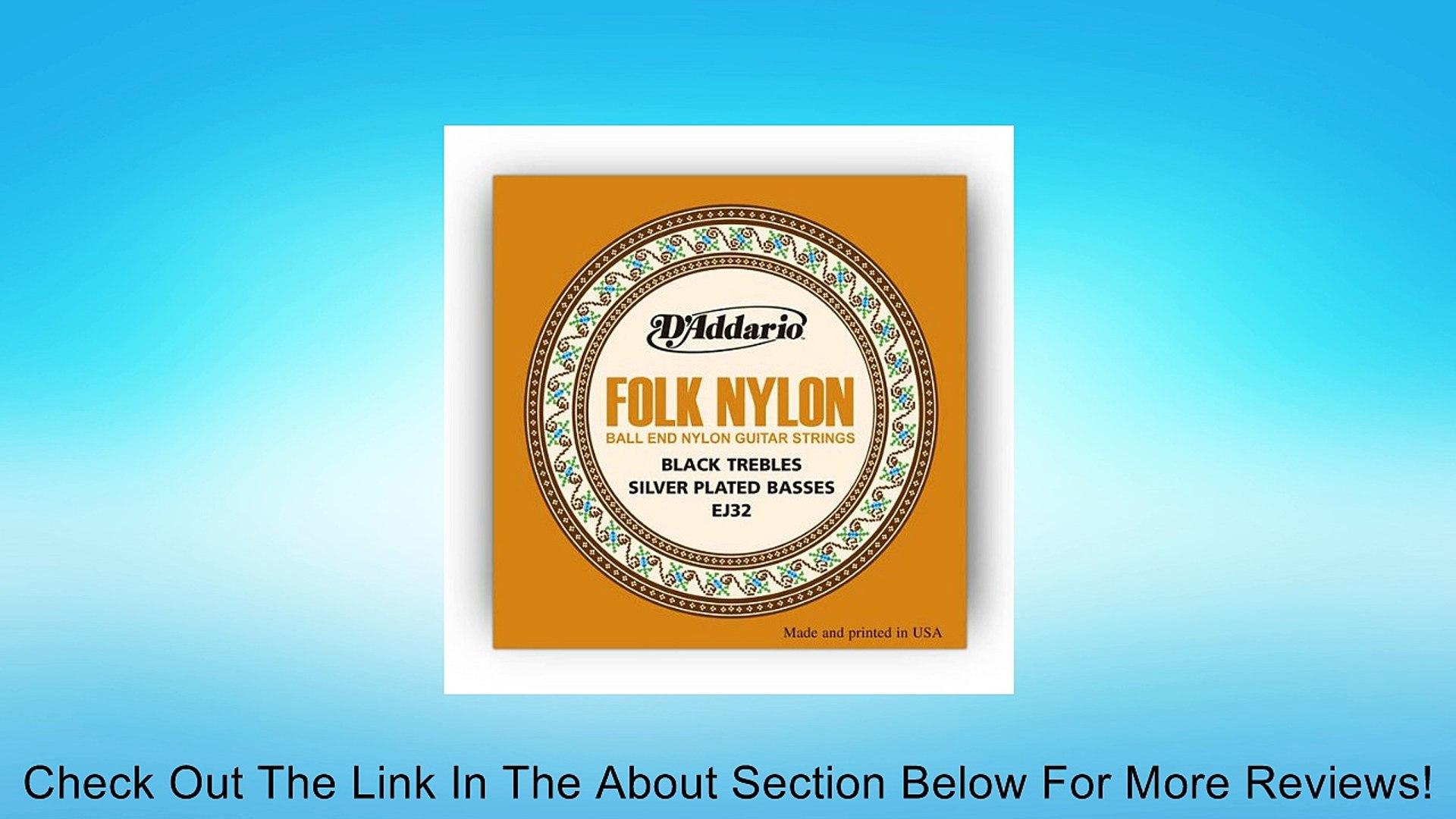D/'Addario EJ32 Folk//Classical Guitar Strings Nylon Silver Wound//Ball End
