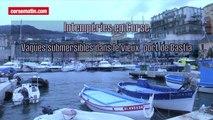 Intempéries en Corse : vagues submersibles dans le vieux port Bastia