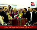 Newly elected Senators Zafar Iqbal Jhagra and Tariq Fazal Chaudhry media talk