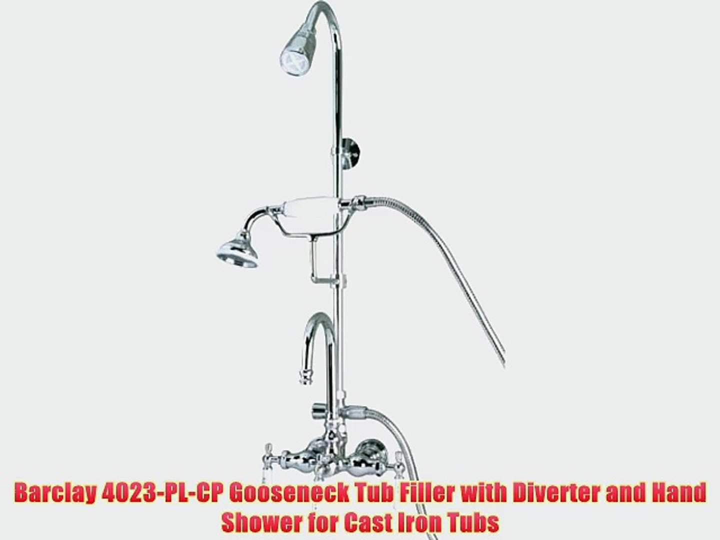 Barclay 4023 Pl Cp Gooseneck Tub Filler With Diverter And