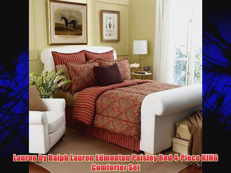 Picture of: Lauren By Ralph Lauren Edmonton Paisley Red 4 Piece King Comforter Set Video Dailymotion