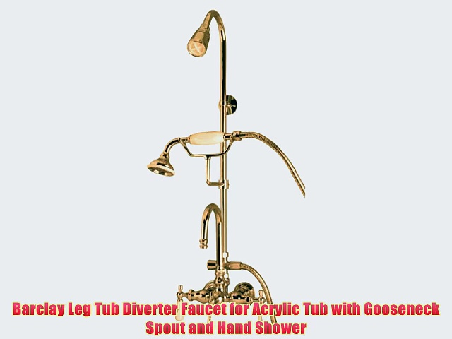 Barclay Leg Tub Diverter Faucet for Acrylic Tub with Gooseneck Spout and Hand Shower