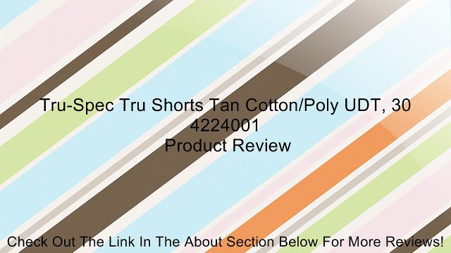 Tru-Spec Tru Shorts Tan Cotton/Poly UDT, 30 4224001 Review
