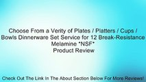 Choose From a Verity of Plates / Platters / Cups / Bowls Dinnerware Set Service for 12 Break-Resistance Melamine *NSF* Review