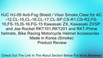 HJC HJ-09 Anti-Fog Shield / Visor Smoke,Clear,for AC-12,CL-15,CL-16,CL-17,CL-SP,CS-R1,CS-R2,FS-10,FS-15,IS-16,FG-15 Kawasaki ZX, Kawasaki ZXSP, and Joe Rocket RKT101,RKT201 and RKT-Prime helmets, Bike Racing Motorcycle Helmet Accessories - Made in Korea (