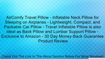 AirComfy Travel Pillow - Inflatable Neck Pillow for Sleeping on Airplanes - Lightweight, Compact, and Packable Car Pillow - Travel Inflatable Pillow is also ideal as Back Pillow and Lumbar Support Pillow - Exclusive to Amazon - 30 Day Money-Back Guarantee